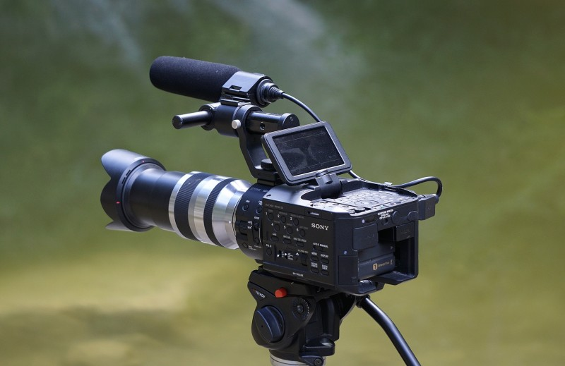 Proffesional video camera on tripod