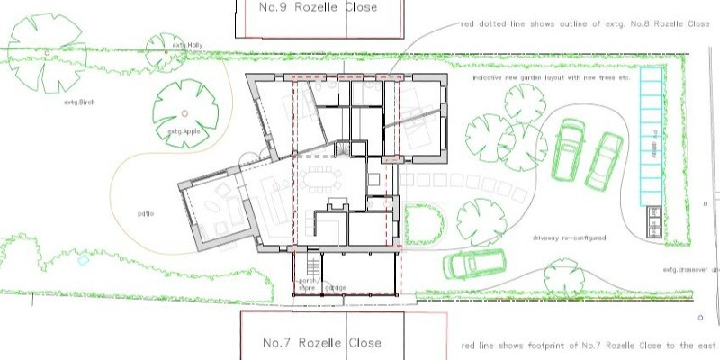Interesting extension approved to bungalow in Hampshire