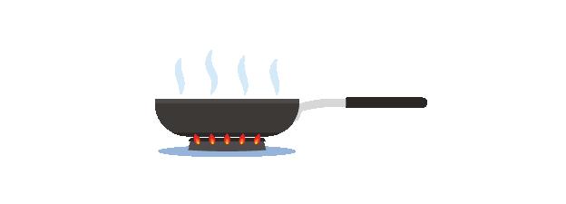 frying pan on gas ring