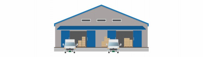 warehouse and trucks
