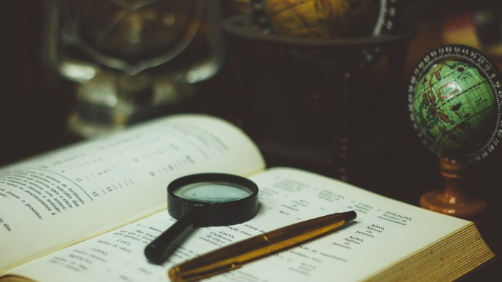 book, pan and magnifier